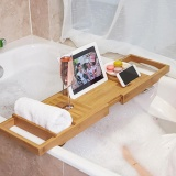 Extendable Bamboo Bath Caddy Wine Glass Holder Tray Over Bathtub Rack Support Intl Price