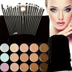 FantasyDay Professional 15 Colors Contour Kit Highlighting Face Cream Concealer Camouflage Makeup Palette + 20 Pieces