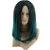 Sale Fashion S*xy 45Cm Medium Long Straight Hair Wigs For Cosplay Anime Party Halloween Christmas Ombre Black To Green Online On Hong Kong Sar China