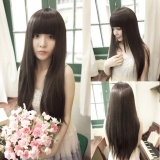 Coupon Female Long Straight Hair Bangs Long Hair Repair Face Wig Black Intl