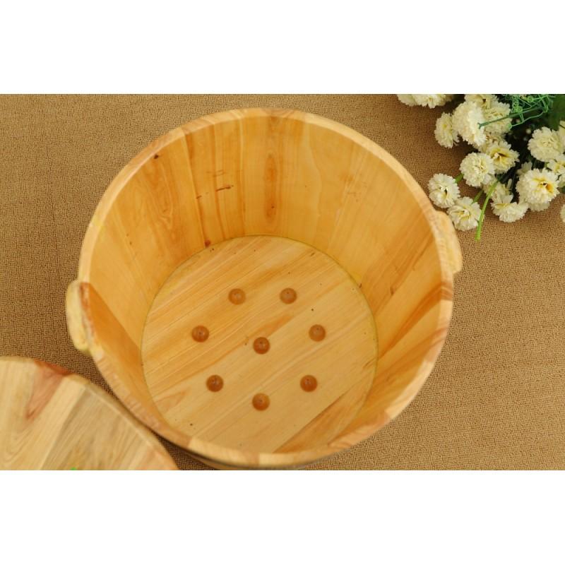Buy Flat foot bath wooden bucket one-sided foot wash basin sauna health bubble bucket (quick delivery) - intl Singapore