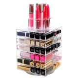 High Quality Clear Acrylic Lipstick Tower Holder Rotating Lipgloss Organizer 80 Slot Cosmetic Storage Case Review