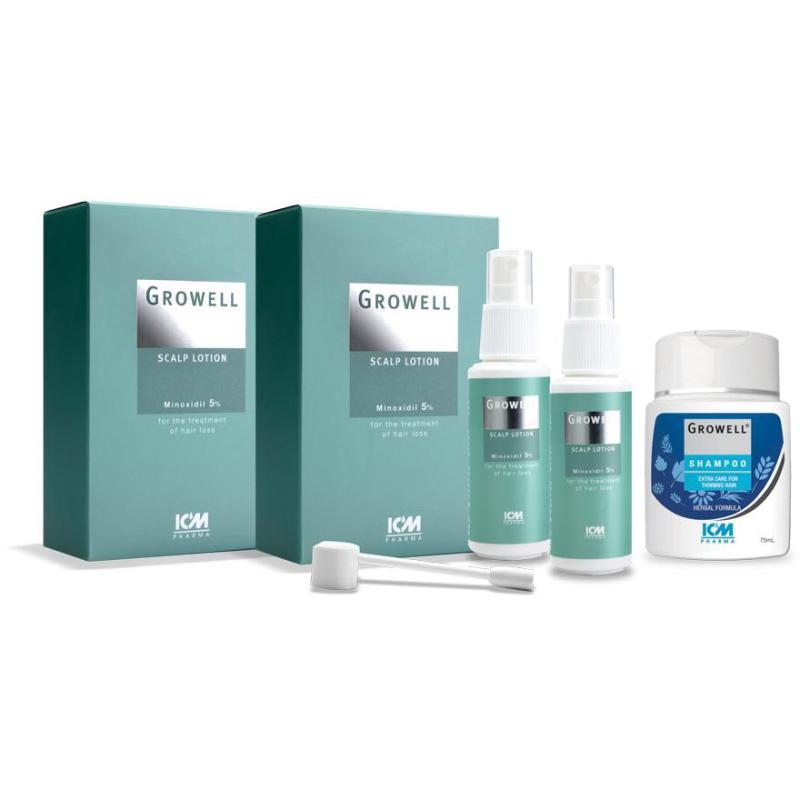 Buy Icm Pharma Growell 5% Scalp Lotion 60Ml Twin Pack + Growell Shampoo 75Ml Singapore