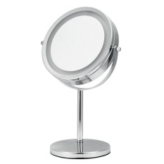 Price Comparisons Kobwa Led Vanity Mirror 13 Inches Circular Lighted Makeup Mirror Double Sided Rotating Mirror With 5X Magnification Silver Intl