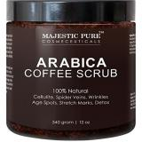 Best Deal Majestic Pure Arabica Coffee Scrub Natural Body Scrub For Skin Care Stretch Marks Acne Anti Cellulite Treatment Helps Reduce Spider Veins Eczema Age Spots Varicose Veins 12 Oz