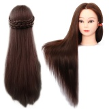 New Mannequin Manikin Training Head With Synthetic Fiber Long Hair Table Clamp Holder For Cosmetology Student Hairdressing Cutting Braiding Practice Maroon Intl