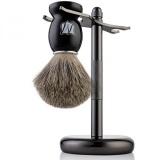 Price Comparison For Miusco Badger Hair Shaving Brush And Shaving Stand Set Dark Chrome Stand Black Brush Intl