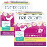Buy Natracare Ultra Extra Pads With Organic Cotton Cover Normal With Wings 12Pcs Twin Pack Online
