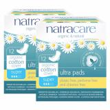 Natracare Ultra Pads With Organic Cotton Cover Super With Wings 12Pcs X 2 Twin Pack Deal