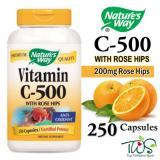 Nature S Way Vitamin C 500 With Rose Hips 250 Capsules Free Shipping