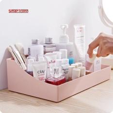 Best Offer New Plastic Makeup Organizer Storage Box Multipurpose Candy Color Office Sundries Cosmetic Container(Pink Intl