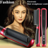 Best Video In Pictures Newest Hot 39W Electronic Hair Straightener Ceramic Ionic Flat Instant Magic Comb Hair Brush