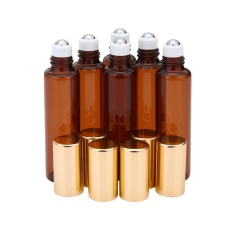 Price Compare Ninror 10Ml 1 3 Oz Amber Glass Roll On Bottles With Stainless Steel Roller Ball For Essential Oil Aromatherapy Perfumes And Lip Balms Set Of 6 Intl
