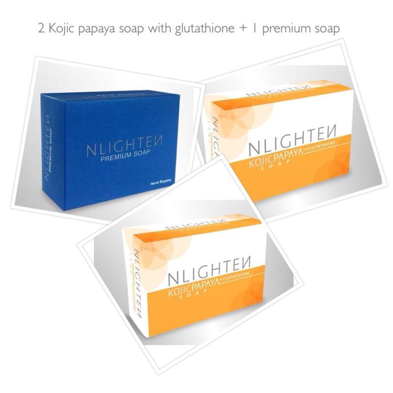 Buy NLIGHTEN KOJIC PAPAYA SOAP with glutathione (set of 2 x 135g) + PREMIUM SOAP with collagen, argan oil and aloe vera (1 x 90g) Singapore