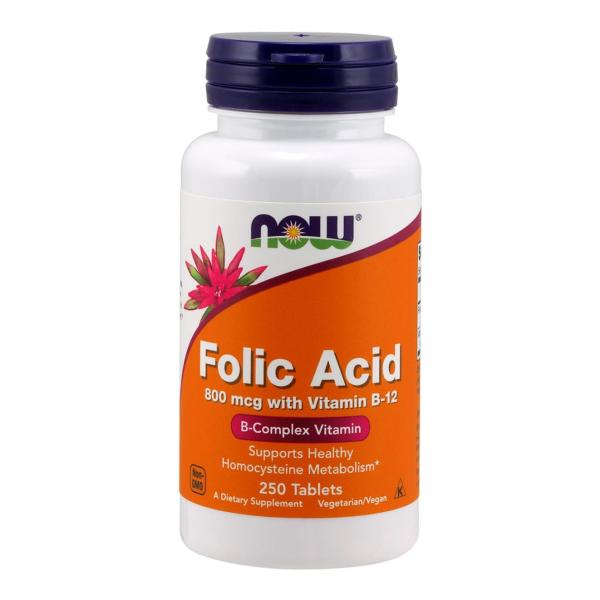 Buy Now Foods Folic Acid with Vitamin B-12, 800 mcg, 250 Tablets Singapore