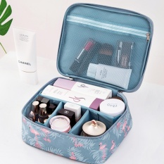 Deals For Portable Toiletry Cosmetic Bag Waterproof Makeup Make Up Wash Organizer Storage Pouch Travel Kit Handbag Blue Flamingo Style B Intl