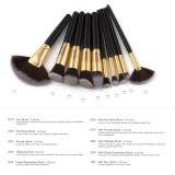Lowest Price Pro 10 Pieces Natural Wood Makeup Brushes Set Eyeshadow Foundation Blending Contour Flat Angled Fan Brush Tool Kit Intl