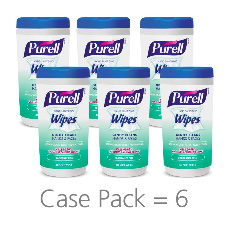 Buy Purell Hand Sanitizing Wipes (Fragrance Free) - 40 Count Canister (PACK OF 6) Singapore
