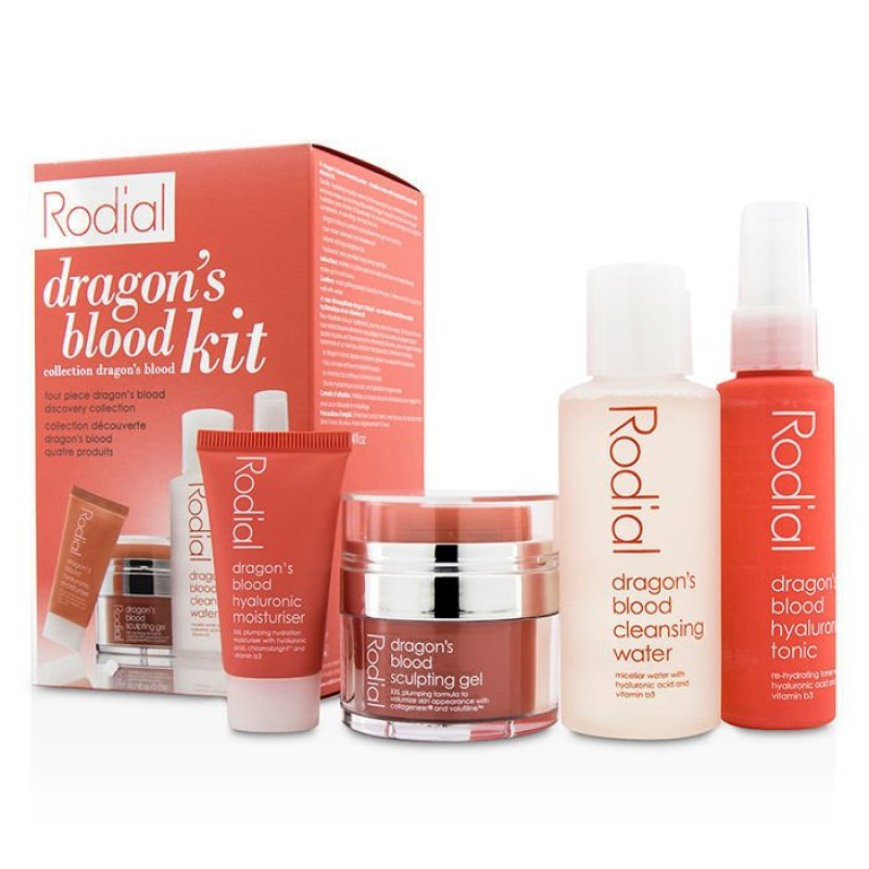 Buy Rodial  Dragons Blood Kit: Cleansing Water 100ml/3.4oz + Tonic 50ml/1.7oz + Sculping Gel 9ml/0.3oz + Moisturiser 10ml/0.3oz 4pcs  (EXPORT) Singapore