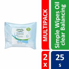 Great Deal Simple Clear Skin Oil Balancing Cleansing Wipes 25S X 2