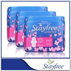 Stayfree Sanitary Napkins Ultra Thin Super Cottony Soft X 12 Pcs X 3 Packs On Singapore