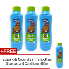 Purchase Pack Of 4 Suave Kids Coconut 2 In 1 Smoothers Shampoo And Conditioner 665Ml 6551 Online