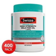 Swisse Ultiboost Odourless High Strength Wild Fish Oil 1500mg 400 Capsules May 2021 By Australia Health Warehouse.