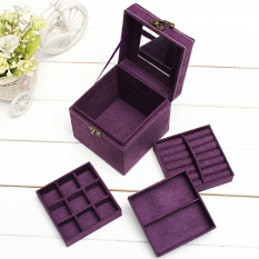 Discount Velvet Jewelry Storage Box Necklace Earring Ring Bracelet Display Case Organiser Purple Export Oem China