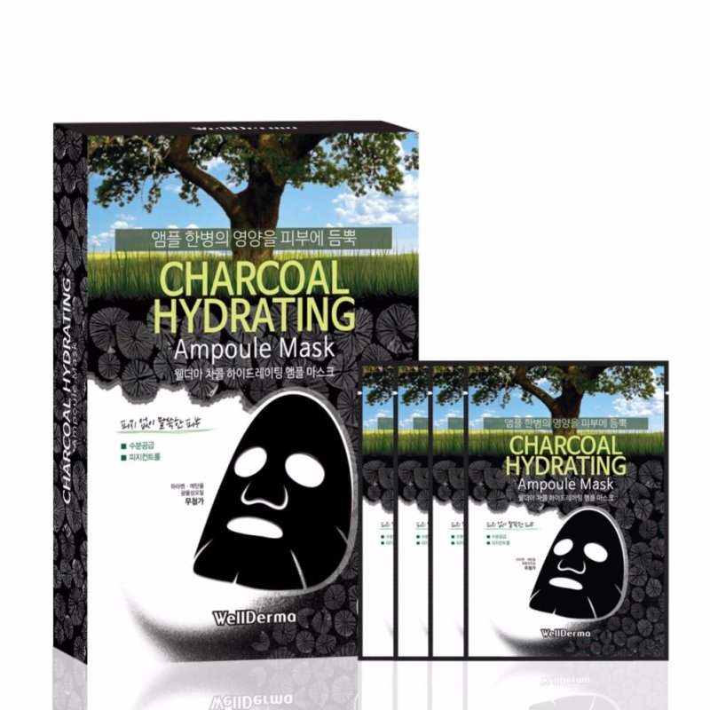 Buy WellDerma Charcoal Hydrating Ampoule Mask 4pack/box - intl Singapore