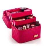 Price Comparisons With 2 Lift Drawer Pu Leather Cosmetic Bag Make Up Storage Box Professional Makeup Bag Pink Intl