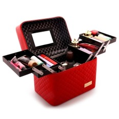 With 4 Lift Drawer Pu Leather Cosmetic Bag Make Up Storage Box Professional Makeup Bag Red Intl Shopping