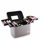 Shop For With 4 Lift Drawer Pu Leather Cosmetic Bag Make Up Storage Box Professional Makeup Bag Sliver Intl