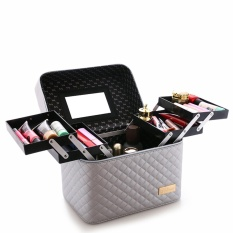 Who Sells With 4 Lift Drawer Pu Leather Cosmetic Bag Make Up Storage Box Professional Makeup Bag Sliver Intl Cheap
