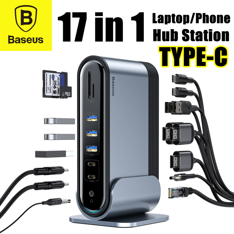 BASEUS 17-in-1 Type-C Hub Station For Laptop Phone HDMI/RJ45/USB/SD/TF/3.5mm Audio Jack/PD Hub Converter UK 3 PIN Adapter Set