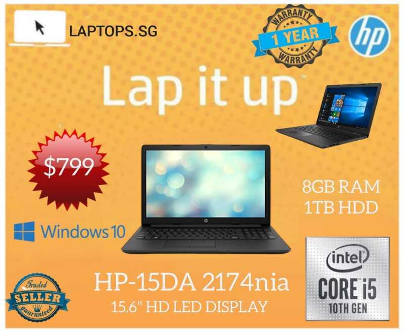 Hp Notebook - 15-DA2174nia / Business Laptop / Core i5 10th Gen processor / 8GB RAM, 1TB HDD / 15.6inch HD LED / Windows 10 pro  (One year HP Warranty)