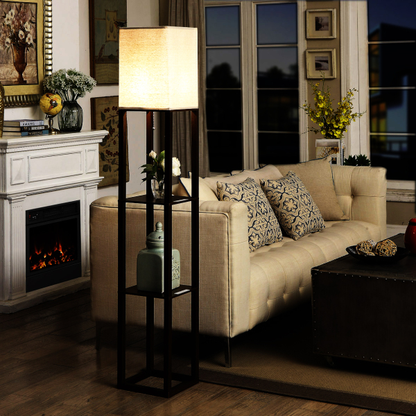 Simple Living Room Floor Lamp Storage Shelf with USB Bedside Lamp Bedroom cha ji deng American Village Creative Couch Lamp