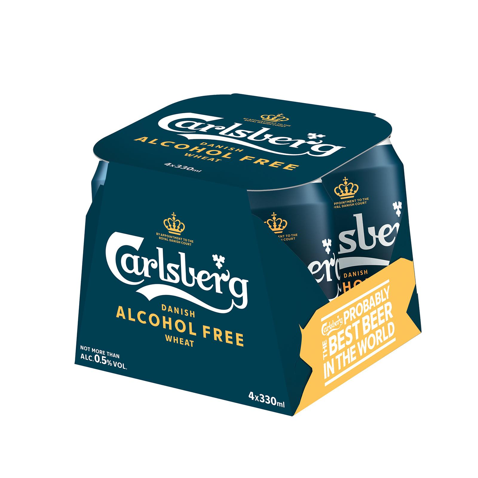 Carlsberg Alcohol-Free Wheat Beer Can 330ml (Pack of 4)