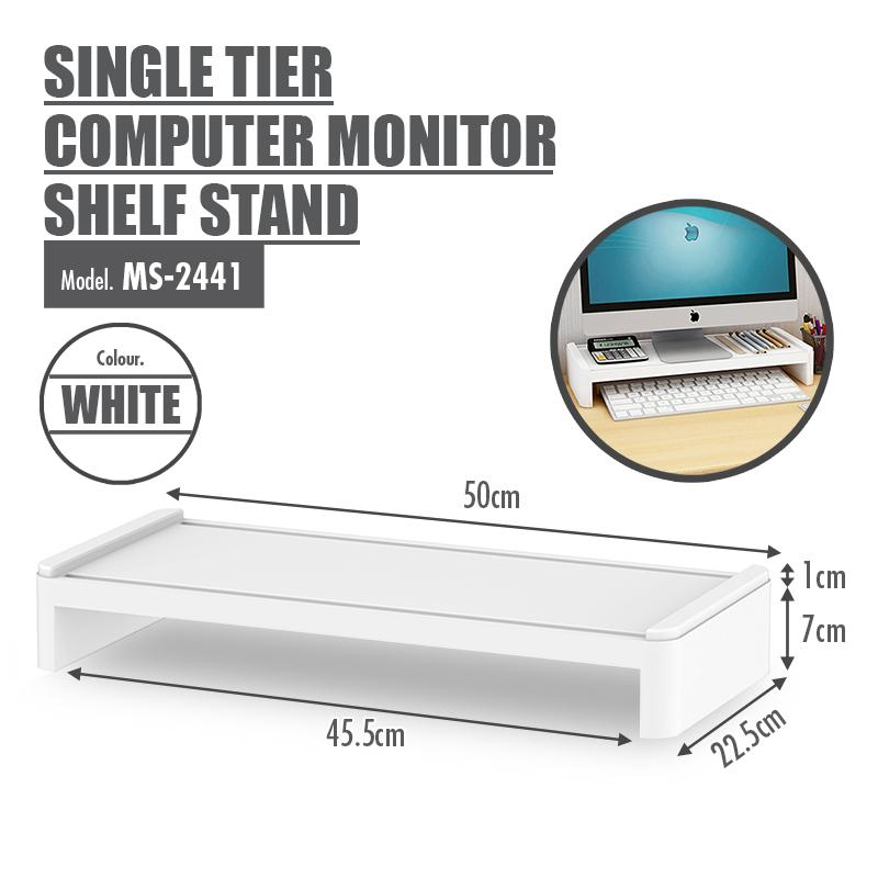 Single Tier Computer Monitor Shelf Stand (white) By Houze.