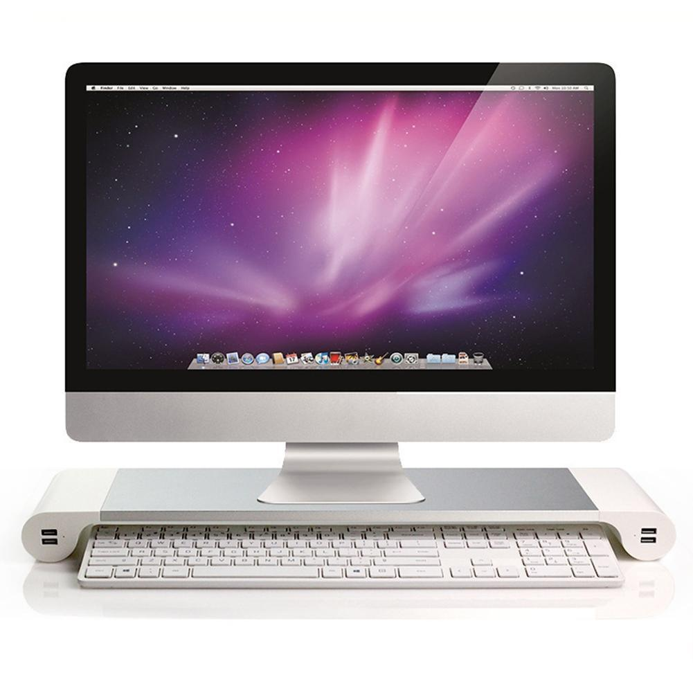 Aluminum Alloy Laptop Monitor Stand with 4 USB Charging Port