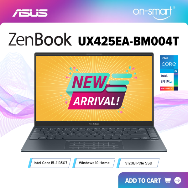 【Next Day Delivery】ASUS Zenbook 14 UX425EA-BM004T | Intel Core i5-1135G7 Processor | 8GB RAM | 512GB NVMe PCIe SSD | Intel Iris Xe Graphics | Windows 10 Home | 2 Years International Warranty