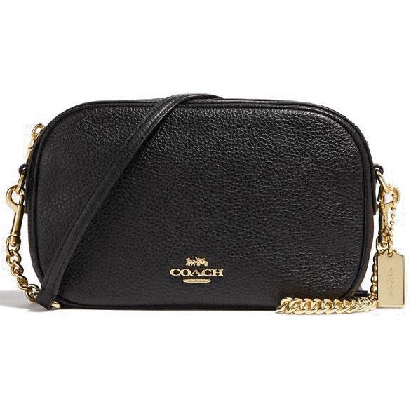1b45c02de7b Coach Crossbody Bag Isla Chain Crossbody Handbag Black / Gold # F29000 +  Gift Receipt