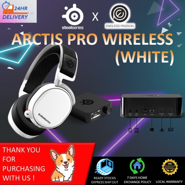 SteelSeries Arctis Pro Wireless Gaming Headset - Lossless High Fidelity Wireless + Bluetooth for PS4 and PC - Black/White [24 hours delivery]