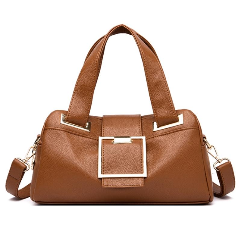 Women Leather Handbags Vintage Soft Leather Female Crossbody Shoulder Bag Designer High Capacity Top-Handle Bag