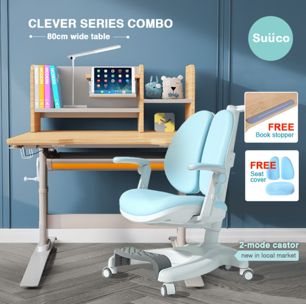 Suuco Clever Series Combo | Study Table and Study Chair For Kids | Study Desk and Study Chair for Children | Height Adjustable Study Table and Chair for Children | Height Adjustable Study Desk and Chair for Kids