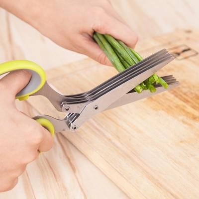 Kitchen Green Onion Cutter Multi-functional Scissors Knives Cuisine Scissors Stainless Steel Multilayer Scissors Household Seaweed Broken Shear Chopper