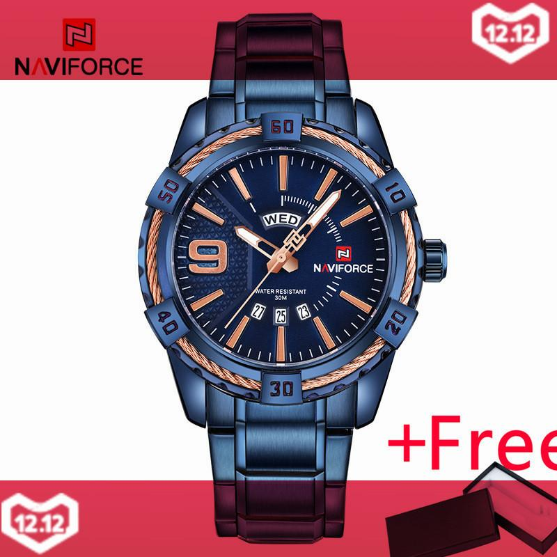 NAVIFORCE NF9117BE Merek Mewah Pria Sport Watches Pria QUARTZ 30 M Tahan  Air Jam Man Stainless ba4e1264bf