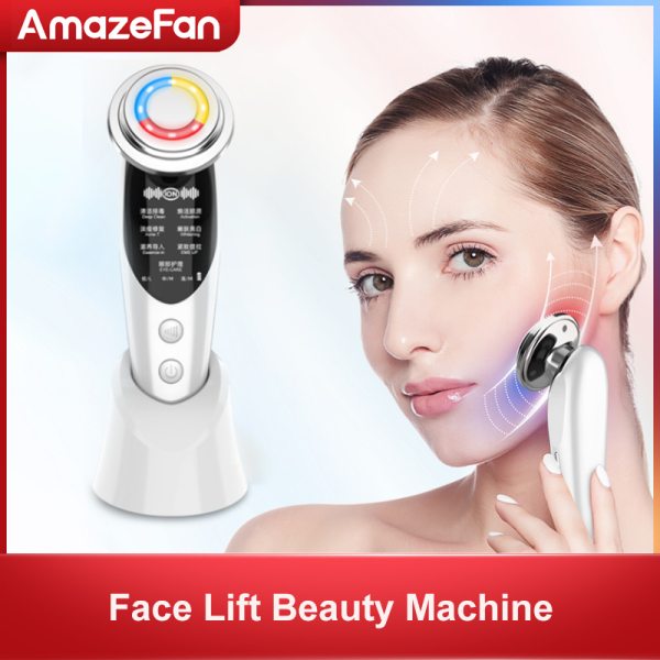Buy AmazeFan V Face Lifting Massager Face Device Red Blue Light Facial Tool With Lcd Rf Light Machine Ems Led Photon Skin Care Face Lift Beauty Tools With 7 Modes for Tighten Skin, Remove Wrinkles, Shrink Pores and Anti Aging Singapore