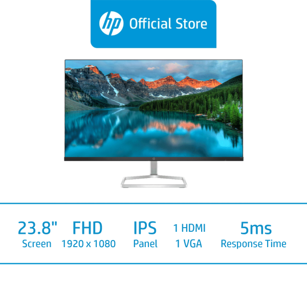 HP M24fe FHD Monitor / 23.8 FHD (1920 x 1080) / IPS Display / 5ms GtG / 75Hz  / 3 Years Onsite Warranty