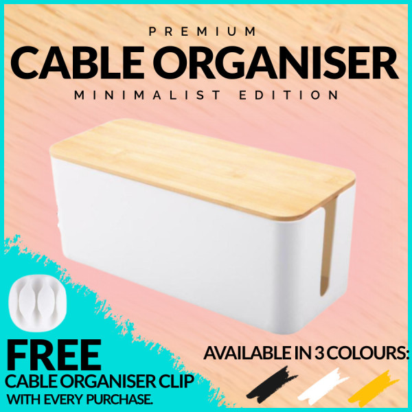 Cable Management Box Cable Storage Organizer Wire Cable Box Organizer White Black and Modern Wood For Extension Plug Organizer Safety Cable Box for Computer Desktop TV Under Desk Table Power Wrap Cord Cable Protector Holder
