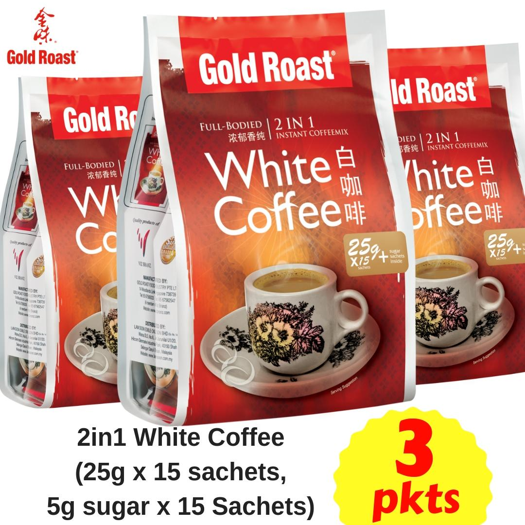 (bundle Deal) Gold Roast 2in1 White Coffee (25g X 15 Sachets) X 3pkts By Gold Roast Food Official.